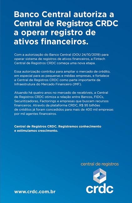 BACEN autoriza a CDRC a operar com registro de ativos financeiros